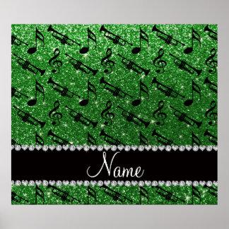 Custom name green glitter trumpets music notes print