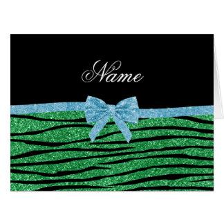 Custom name green glitter zebra stripes blue bow cards