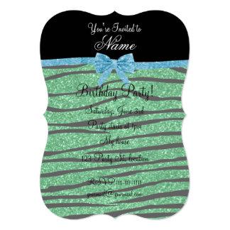Custom name green glitter zebra stripes blue bow card