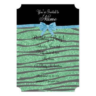 Custom name green glitter zebra stripes blue bow 5x7 paper invitation card