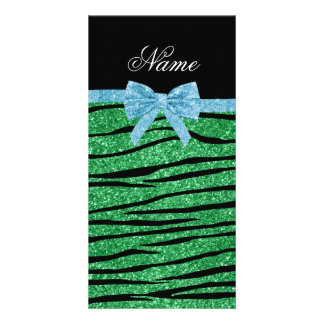 Custom name green glitter zebra stripes blue bow photo cards