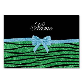Custom name green glitter zebra stripes blue bow table card