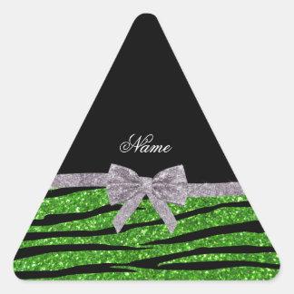 Custom name green glitter zebra stripes silver bow sticker