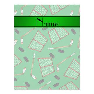 Custom name green hockey sticks pucks nets 21.5 cm x 28 cm flyer