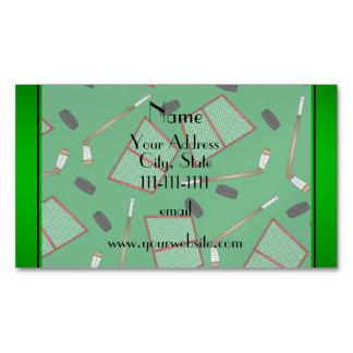 Custom name green hockey sticks pucks nets magnetic business cards