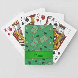 Custom name green hockey sticks pucks nets playing cards