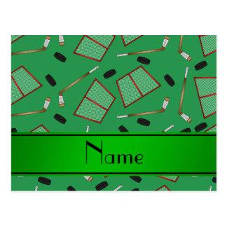 Custom name green hockey sticks pucks nets postcard