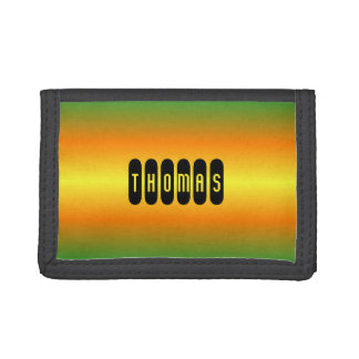 Custom name green orange gradient tri-fold wallet