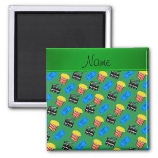 Custom name green popcorn movie ticket action sign square magnet