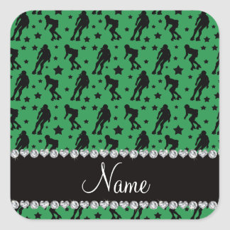 Custom name green roller derby stars square sticker