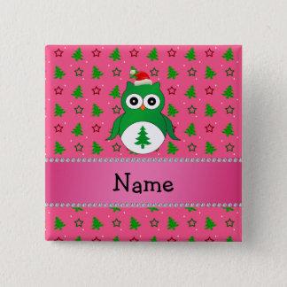 Custom name green santa owl pink christmas trees 15 cm square badge