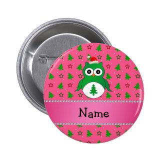 Custom name green santa owl pink christmas trees 6 cm round badge