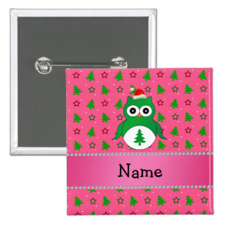 Custom name green santa owl pink christmas trees buttons