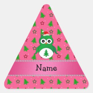 Custom name green santa owl pink christmas trees triangle sticker