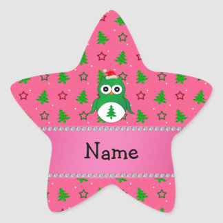 Custom name green santa owl pink christmas trees stickers