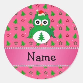 Custom name green santa owl pink christmas trees round sticker