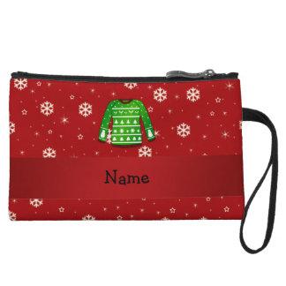 Custom name green ugly christmas sweater wristlets