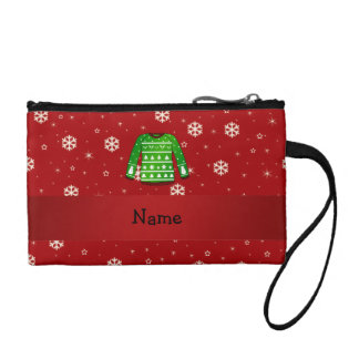 Custom name green ugly christmas sweater coin wallets