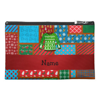 Custom name green ugly christmas sweater travel accessories bags