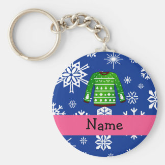 Custom name green ugly christmas sweater basic round button key ring