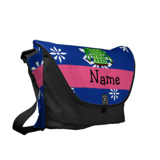 Custom name green ugly christmas sweater commuter bags