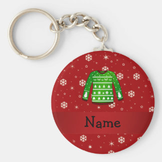 Custom name green ugly christmas sweater keychains