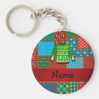 Custom name green ugly christmas sweater key ring