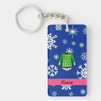 Custom name green ugly christmas sweater rectangular acrylic keychains