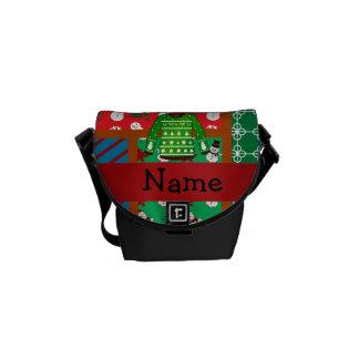 Custom name green ugly christmas sweater messenger bag