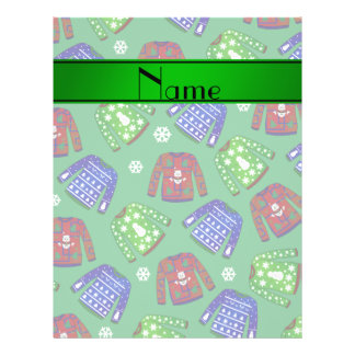 Custom name green ugly christmas sweater pattern 21.5 cm x 28 cm flyer