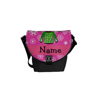 Custom name green ugly christmas sweater pink commuter bag