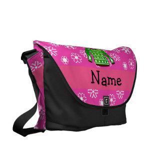 Custom name green ugly christmas sweater pink messenger bags