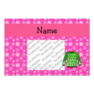 Custom name green ugly christmas sweater pink photo
