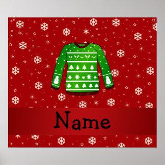 Custom name green ugly christmas sweater poster