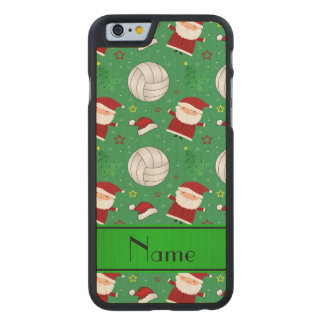Custom name green volleyball christmas pattern carved® maple iPhone 6 case
