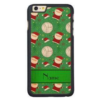 Custom name green volleyball christmas pattern iPhone 6 plus case