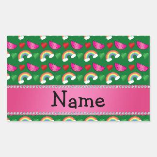 Custom name green watermelons rainbows hearts rectangular sticker