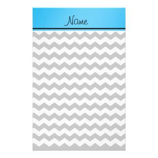 Custom name grey chevrons blue stripe stationery