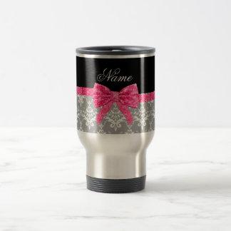 Custom name grey damask pink glitter bow coffee mug