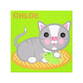 Custom Name Grey Kitty Cat Wrapped Canvas Canvas Prints