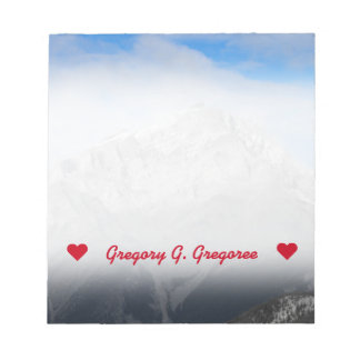 Custom Name; Grey Mountain Peak, Cloudy Blue Sky Notepad