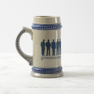 Custom name groomsman bachelor blue beer stein