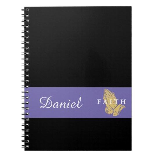 Custom Name Hands of Prayer Notebook