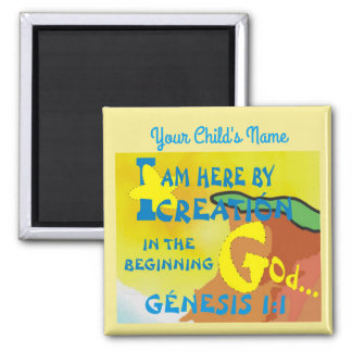 Custom Name Here By Creation Square Magnet