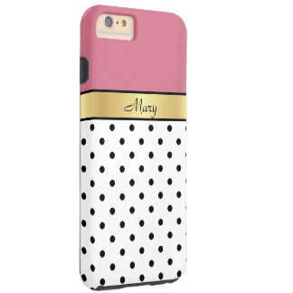 Custom Name Honeysuckle Pink White Black Polka Dot Tough iPhone 6 Plus Case