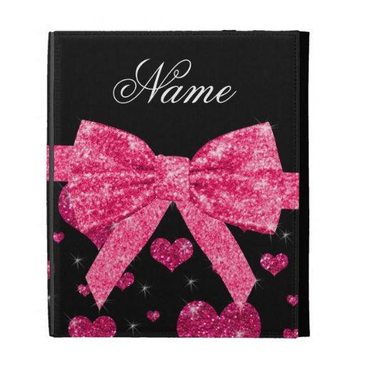 Custom name hot pink glitter hearts bow iPad folio covers