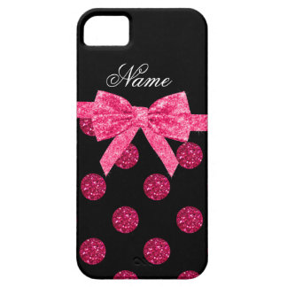 Custom name hot pink glitter polka dots bow iPhone 5 cases