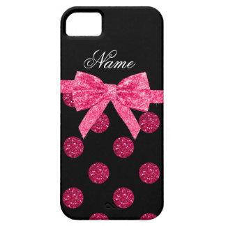 Custom name hot pink glitter polka dots bow iPhone 5 cover