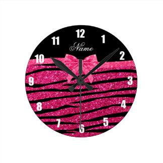 Custom name hot pink glitter zebra stripes bow clocks