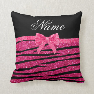 Custom name hot pink glitter zebra stripes bow cushion